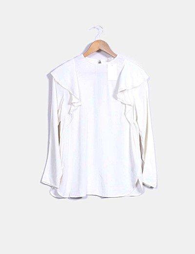 Blusa color crudo manga larga con volantes