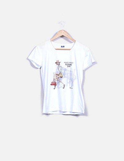 Camiseta blanca print mensaje