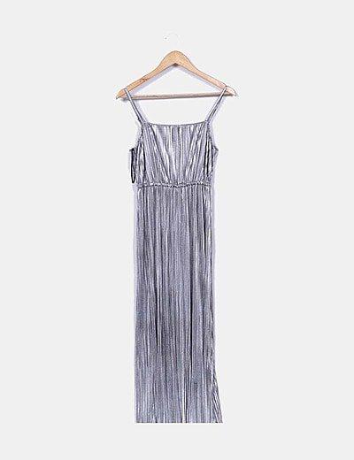 Vestido canalé gris metalizado