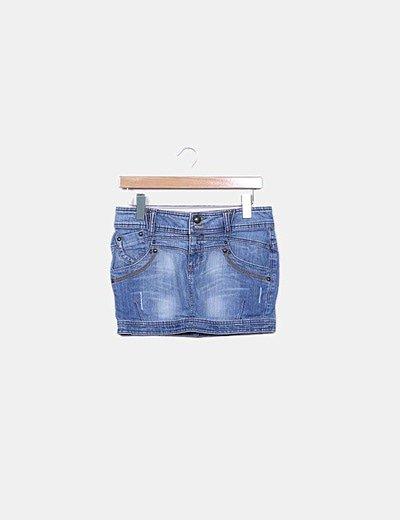 Mini falda denim azul