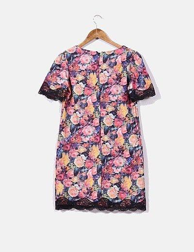 Estampado Con Vestido Puntilla Floral Recto txhrdCsQ
