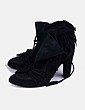 Botines ante negro con flecos Zara