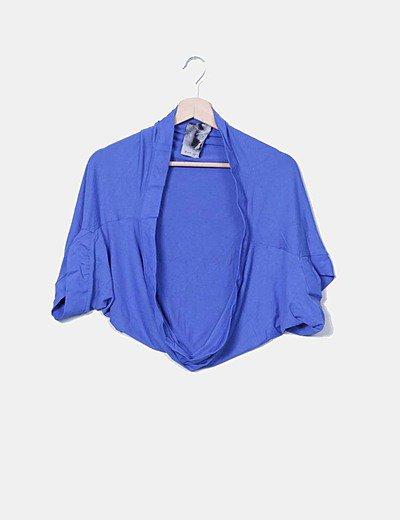 Cárdigan azul manga corta
