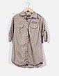 Sobrecamisa verde khaki detalle tachuelas Zara