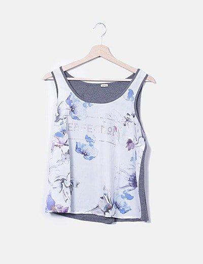 Camiseta combinada floral