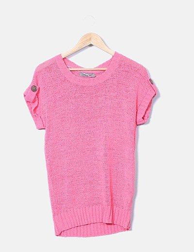 Jersey tricot rosa manga corta