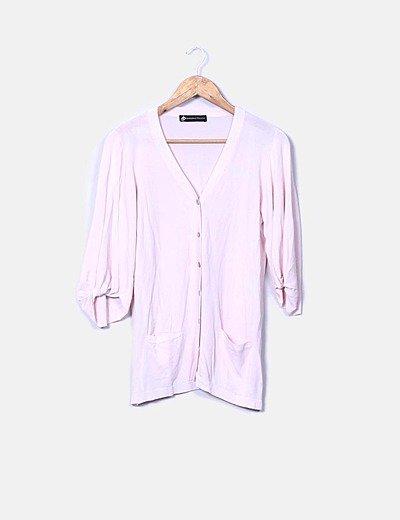 Chaqueta tricot rosa palo