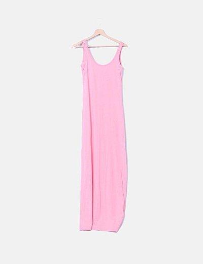 Maxi vestido de tirantes rosa