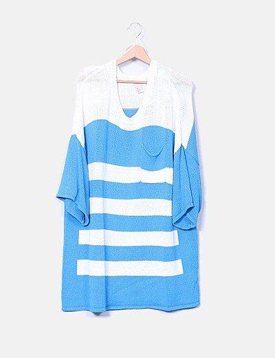 Vestido punto oversize rayas azules