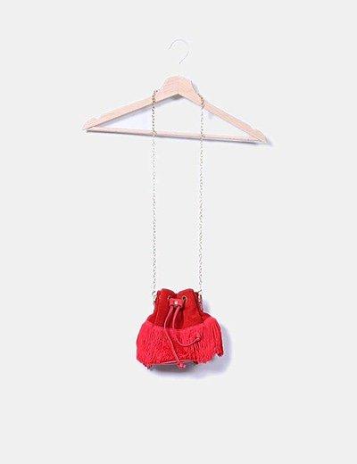 Mini saco serraje rojo con flecos