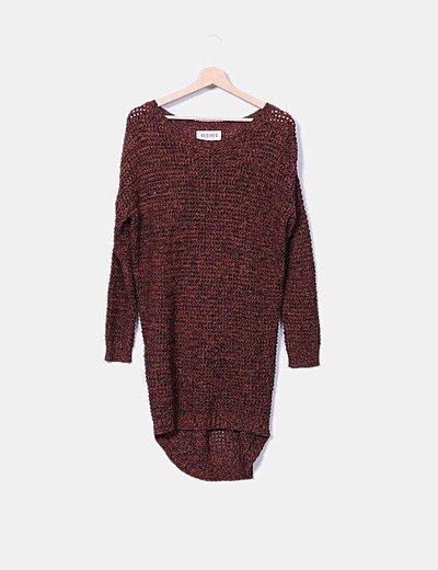 Vestido tricot calado color teja