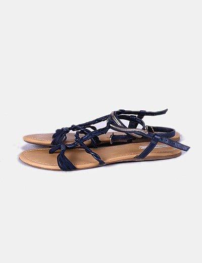 Sandalia plana azul