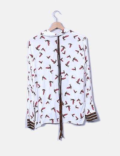 Zara Camisa fluida print golondrinas (descuento 73 %) Micolet