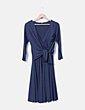 Vestido azul marino detalle flor Tintoretto