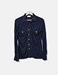 Camisa fluida negra con bolsillos Jackpot