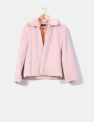 Chaquetón pelo sintético rosa claro