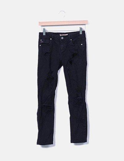 Jeans denim negro ripped