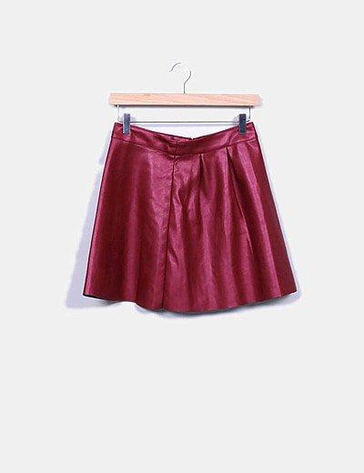 Mini falda polipiel frambuesa