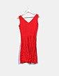 Vestido fluido rojo detalle texturizado Trucco