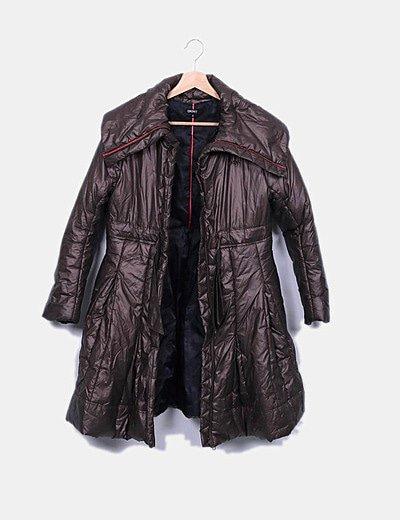Abrigo largo acolchado cobre