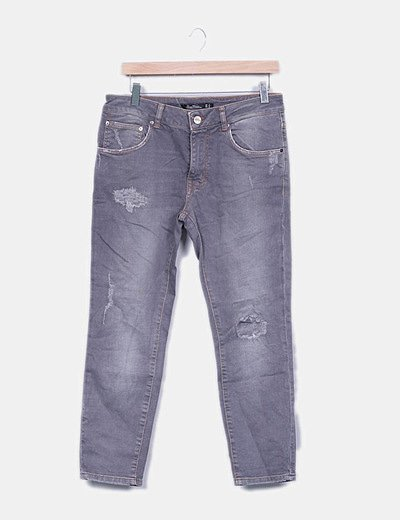 Jeans denim baggy fit gris
