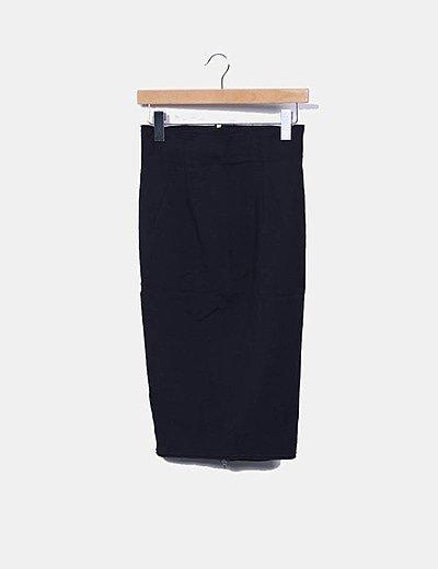 Falda tubo negro con cremalleras