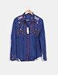 Camisa azul bordados florales Desigual