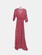 Vestido maxi floral rojo con abertura NoName