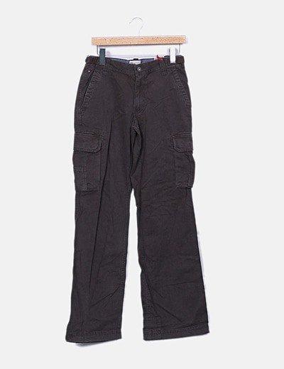 Pantalón recto denim marrón oscuro